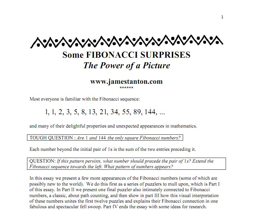 fibonacci sequence essay Free fibonacci papers, essays, and research papers fibonacci numbers and sequences - fibonacci numbers are numbers in the fibonacci sequence.